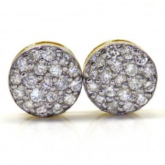 14k Yellow Gold Diamond Snow Cap 9.7mm Earrings 1.00ct