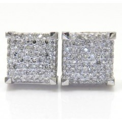 10k White Gold Diamond 7.50mm Cube Earrings 0.35ct