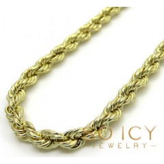 14k Yellow Gold Hollow Smooth Rope Chain 16-26 Inch 3mm