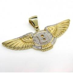 14k Yellow Gold Diamond Flying B Wing Pendant 0.61ct