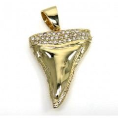 14k Yellow Gold Diamond Shark Tooth Pendant 1.10ct