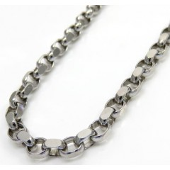 14k White Gold Solid Oval Rolo Chain 22 Inch 3.20mm