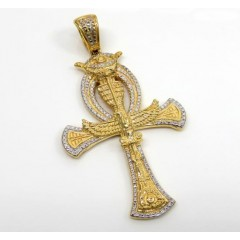 10K Two Tone Solid Gold Evil Eye Eagle Ankh Cross