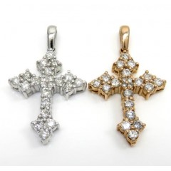 14k White Or Rose Gold Small Royal Diamond Cross 1.30ct
