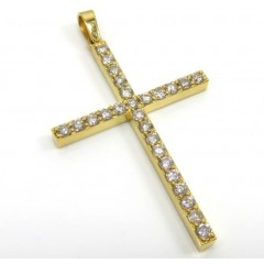 14k Yellow Gold 26 Diamond Prong Cross 1.10ct