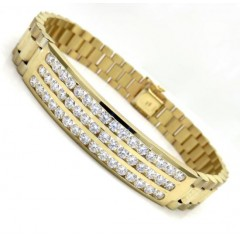 14k Yellow Gold 3 Row Diamond Presidential Bracelet 8.75 Inches 4.00ct