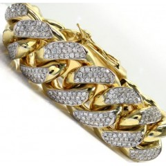 10k Solid Yellow Gold Xxl Diamond Miami Bracelet 9.25 Inch 27mm 24.23ct