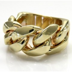 10k Yellow Gold 12mm Solid Miami Cuban Link Ring