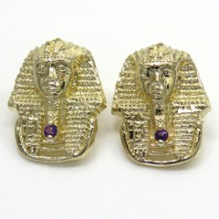 14k Yellow Gold Amethyst King Tut Pharaoh Earrings 0.10ct