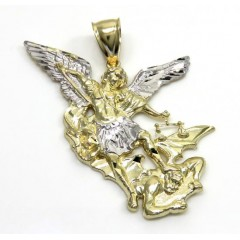 10k Two Tone Gold Medium Angel Vs Demon Saint Michaels Pendant