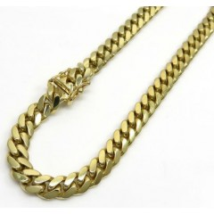 10k Yellow Gold Solid Miami Bracelet 8.5 Inch 6mm