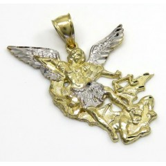 10k Two Tone Gold Small Angel Vs Demon Saint Michaels Pendant