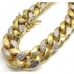 10k Yellow Gold One Sided Diamond Cut Two Tone Cuban Bracelet 9.25 Inch 14.80mm