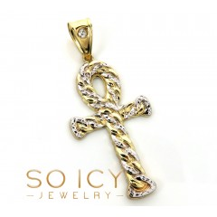 10k Yellow Gold Hollow Diamond Cut Cuban Ankh Cross