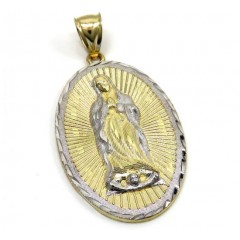 10k Two Tone Gold Diamond Cut Virgin Mary Oval Pendant