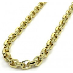 10k Yellow Gold Hollow Beveled Edge Cable Chain 20-24