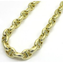 10k Yellow Gold Hollow Puffed Mariner Chain 26 Inch 5mm