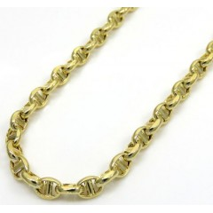 10k Yellow Gold Skinny Hollow Puffed Mariner Chain 20-24 Inch 3mm