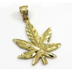14k Yellow Gold Small Marijuana Leaf Pendant