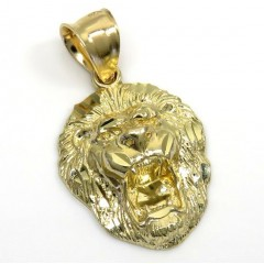 14k Yellow Gold Mini 3d Lion Head Pendant