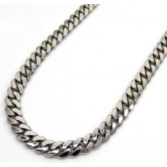 10k White Gold Solid Miami Chain 26 Inch 5mm
