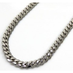 10k White Gold Solid Miami Chain 22-26 Inch 3.50mm