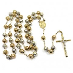10k Two Tone Gold Smooth Large Bead Rosary Chain 28 Inch 9mm