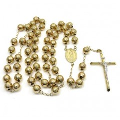 10k Yellow Gold Smooth Large Bead Rosary Chain 36 Inch 9mm
