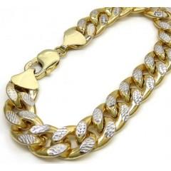 10k Yellow Gold One Sided Diamond Cut Cuban Bracelet 8.75 Inches 12.50mm