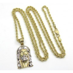 10k Yellow Gold Small Jesus Pendant 24 2mm Rope Chain Combo Set
