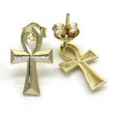 10k Yellow Gold Mini Ankh Cross Earrings