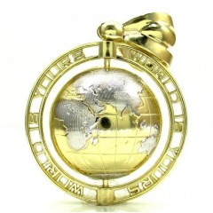 10k Yellow Gold Medium The World Is Yours Spinning Globe Pendant