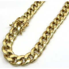 10k Yellow Gold Medium Hollow Puffed Miami Bracelet 9 Inch 8.20mm