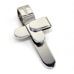 Mens Baraka 18k Solid White Gold Cross
