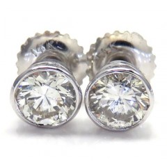 14k White Gold Round Si1 Diamond Bezel Studs 0.80ct