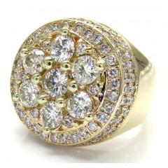 14k Yellow Gold Cluster Round Diamond Ring 4.50ct