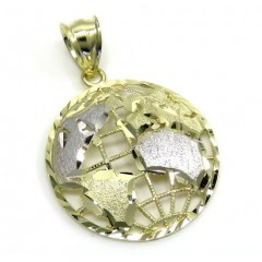 10k Two Tone Gold Small Diamond Cut World Pendant