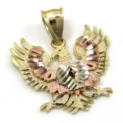 10k Tri Color Gold Small Diamond Cut Albanian Eagle Pendant