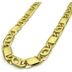 14k Yellow Gold Solid Tiger Eye Link Chain 22 Inch 5mm