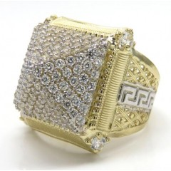 10k Two Tone Gold Greek Design Cz Pyramid Ring 1.80ct