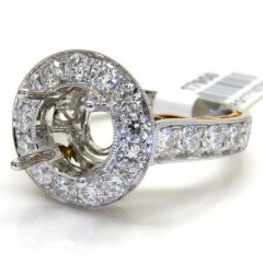 18k Two Tone Gold Round Diamond Halo Semi Mount Ring 1.45ct