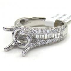 18k White Gold Round & Baguette Diamond Semi Mount Ring 1.47ct