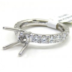 18k White Gold Round Diamond Semi Mount Ring 1.08ct