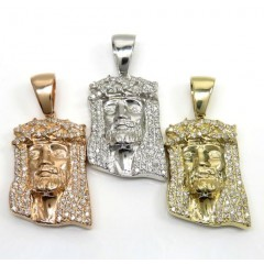 14k Yellow, Rose Or White Gold Medium Diamond Jesus Pendant 1.50ct