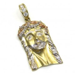 14k Tri Color Gold Cz Solid Jesus Pendant 0.90ct