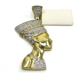 10k Yellow Gold Diamond Nefertiti Medium Head Pendant 1.00ct