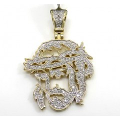 10k Yellow Gold Diamond Stencil Medium Jesus Piece 0.53ct