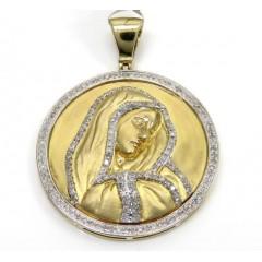 10k Yellow Gold Round Diamonds Virgin Mary Pendant 0.95ct