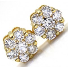 14k Yellow Gold Round Diamond Cluster Earrings 1.25ct