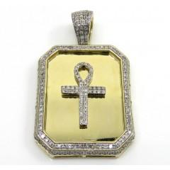 10k Yellow Gold Diamond Ankh Dog Tag Pendant 0.65ct